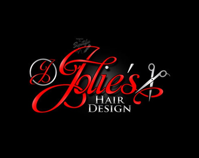 Hair Salon Logo with Scissors, Beauty Salon Logo, Hair Stylist Logo, Graphic Logo Design, Salon Sign Logo Design, Logo Design in Any Colors