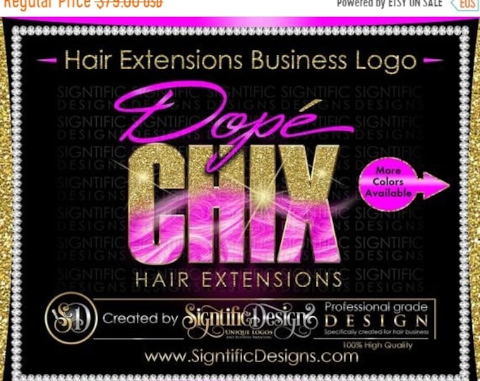 Hair Extensions Logo, Glitter Logo, Hair Logo, Hair Branding Logo, Hair Bundle Logo, Fuchsia Hair Logo, Hair Company Logo, Bling Hair Logo