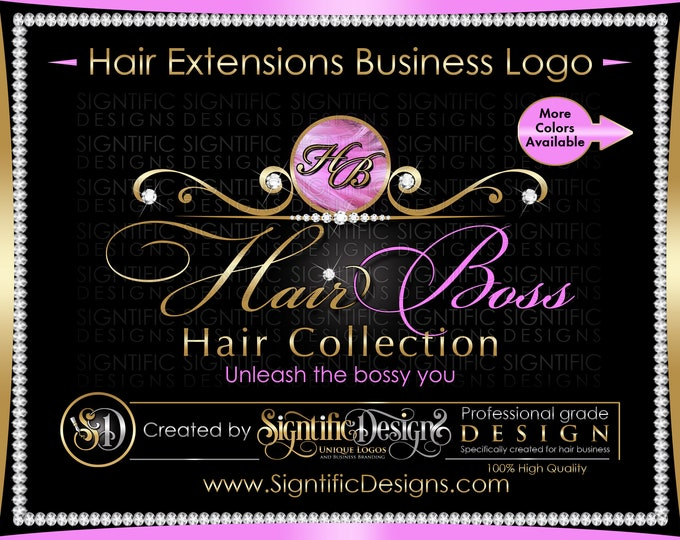 Hair Extensions Logo, Hair Business Logo, Diamond Logo, Hair Logo, Bling Logo, Hair Brand Logo, Virgin Hair Logo, Hair Tag Logo, Branding