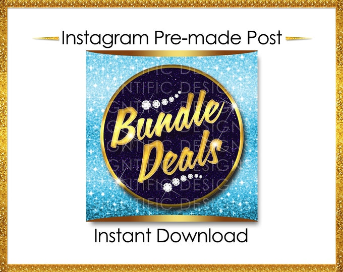 Instant Download, Bundle Deals, Hair Extensions Flyer, Gold and Blue, Instagram Caption, Premade Online Flyer, Instagram Flyer, Hair Flyer