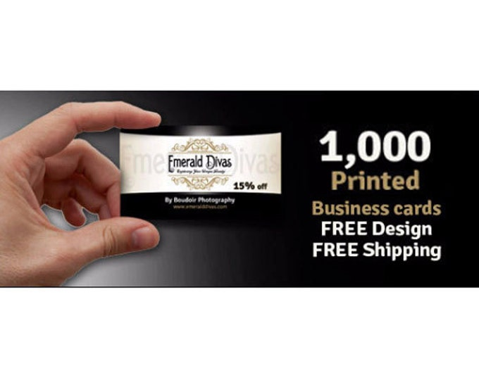 1000 Business Cards, Free Design, Free Shipping, Printed on Gloss or Matte finish