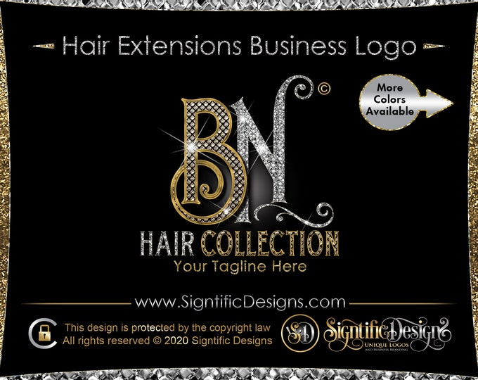 Bling Initials Logo, Diamond Hair Logo, Hair Extensions Logo, Bling Diamond Logo, Hair Business Logo, Wig Logo, Logo Hair, Bundle Branding