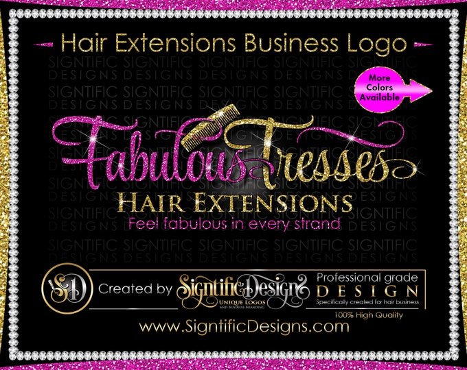 Hair Extensions Logo, Hair Logo Design, Logo Rebrand, Hair Business Logo, Wig Logo, Comb Logo, Scissors Logo, Hair Branding, Glitter Logo