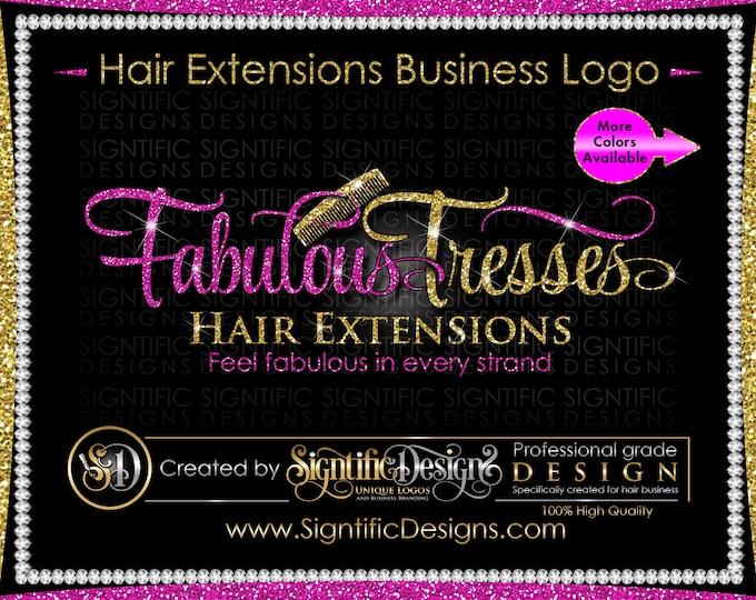 Hair Extensions Logo, Hair Logo Design, Logo Rebrand, Hair Business Logo, Wig Logo, Comb Logo, Scissors Logo, Hair Branding, Glitter Logo