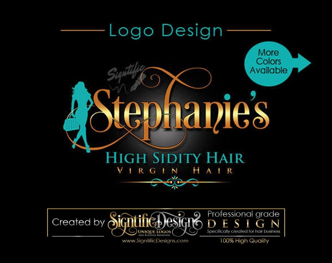 Hair Tag Logo, Virgin Hair logo design, Hair Extensions Logo, Hair Business Logo, Hang Tag Logo Design, Logo with Silhouette Design