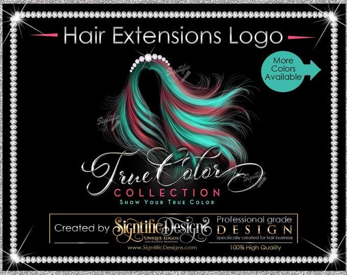 Hair Bundle Logo, Hair Extensions Logo, Virgin Hair Logo, Flowing Hair Logo, Multi Color Hair Logo, Bling Diamond Logo, Hair Collection Logo