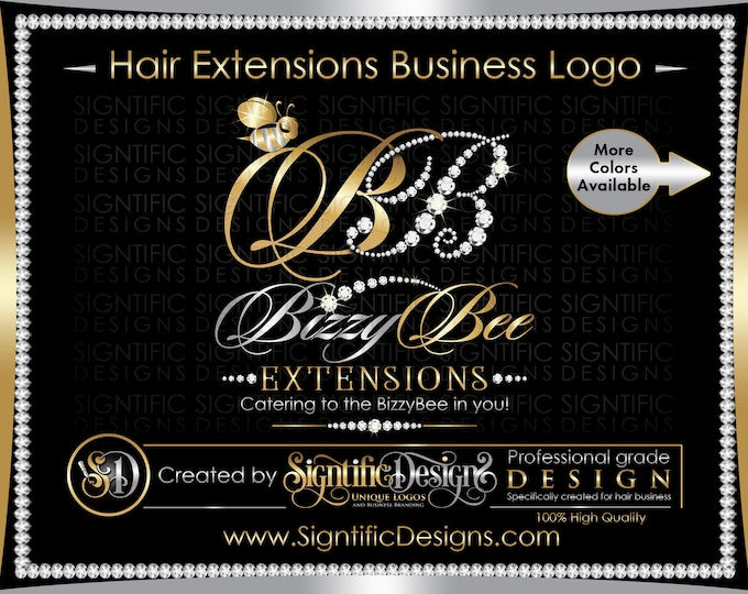 Hair Extension Logo, Hair Logo, Diamond Bling Logo, Hair Packaging Logo, Hair Brand, Bee Logo Design, Hair Bundle Logo, Virgin Hair Logo