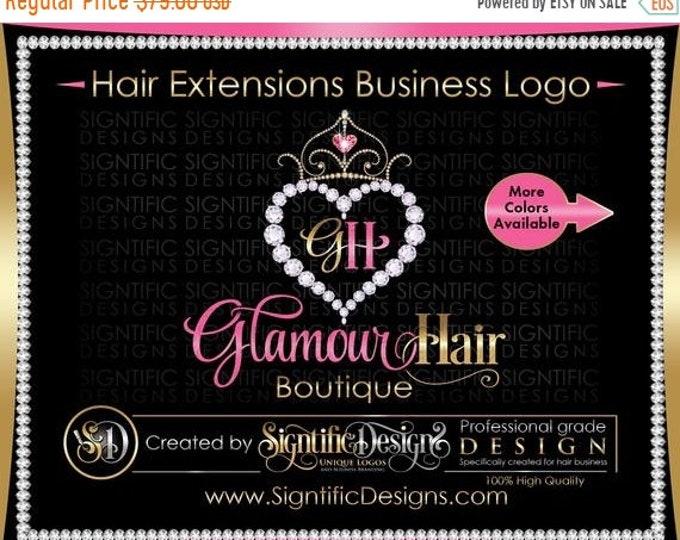 Hair Extension Logo, Hair Logo, Hair Business Logo, Bling Diamond Logo, Bling Tiara Logo, Hair Bundle Logo, Bundle Wrap Logo, Packaging Logo