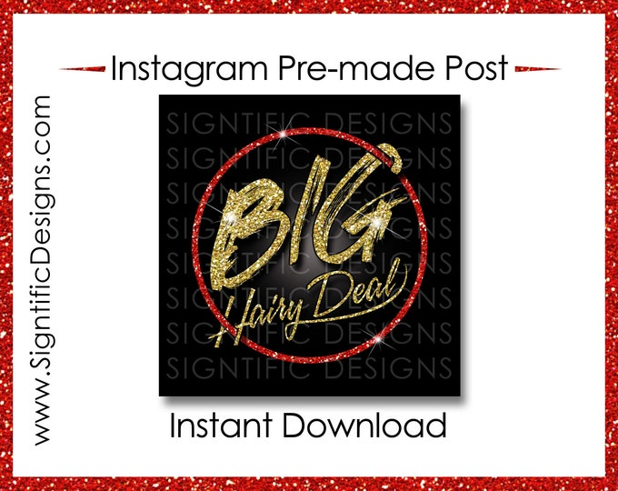 Instant Download, Big Hair Deal, Hair Extensions Flyer, Glitter Gold Red, Instagram Post, Digital Flyer Post, Bundle Flyer, Hair Phrase Post