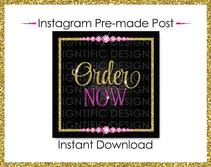 Instant Download, Order Now, Hair Extensions Flyer, Instagram Post, Glitter Gold Pink Flyer, Digital Online Flyer, Bundle Glitter Flyer Post