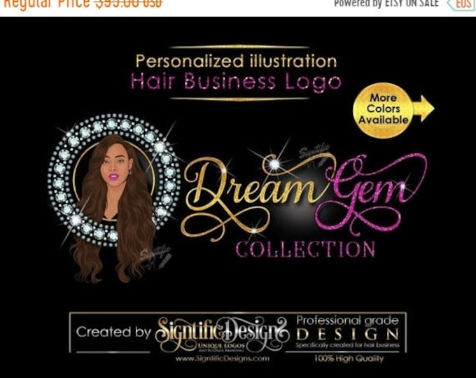 Personalized Portrait Logo, Custom Illustration Diamond Hair Business Logo, People Logo, Hair Extensions Logo, Hair Logo, Bling Hair Logo