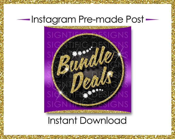 Instant Download, Bundle Deals, Hair Extensions Flyer, Instagram Caption, Gold and Purple, Premade Online Flyer, Instagram Flyer, Hair Flyer