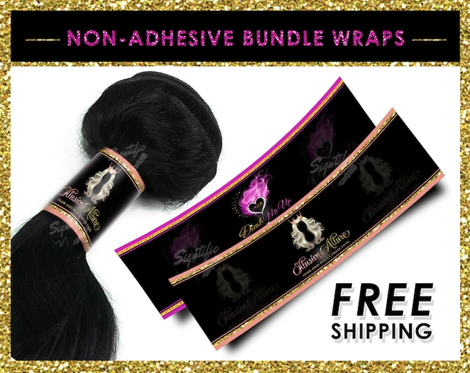 Non Adhesive Wraps, Hair Bundle Wraps, Hair Extension Wraps, Bundle Packaging, Virgin Hair Wraps, Hair labels, Wraps for Hair, Tresses Wraps