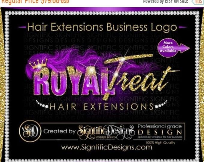 Hair Extension Logo, 3D Hair Logo, Hair Business Logo, Bundle Logo, Hair Wrap Logo, Glitter Logo, Wig Logo, Purple Hair Logo, Hair Branding