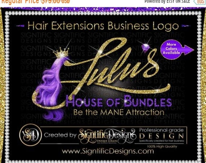 Hair Extensions Logo, Hair Logo, Hair Business Logo, Virgin Hair Logo, Packaging Logo, Logo Design, Bundle Logo, Hair Tag Logo, Hair Brand