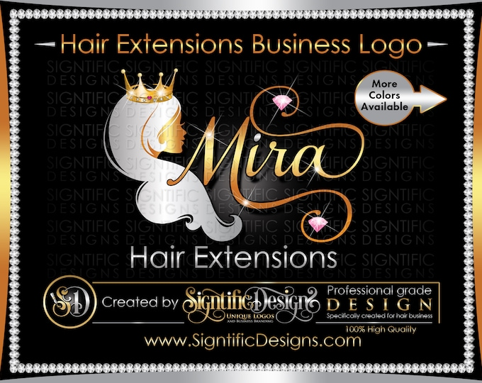 Hair Extensions Logo, Crown Hair Logo, Hair Business Logo, Bling Logo, Hair Bundles Logo, Wig Logo, Hair Branding Logo, Bling Diamond Logo