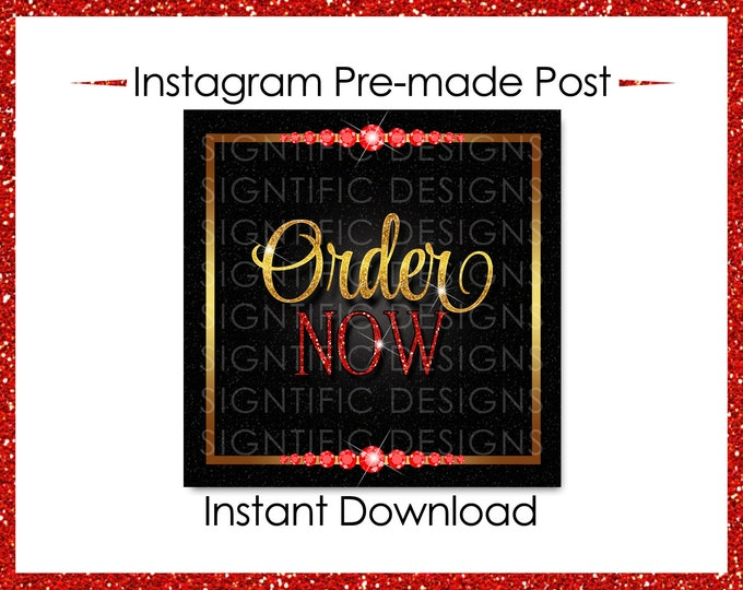 Instant Download, Order Now, Hair Extensions Flyer, Instagram Post, Glitter Gold Red Flyer, Digital Online Flyer, Glitter Bundle Flyer Post