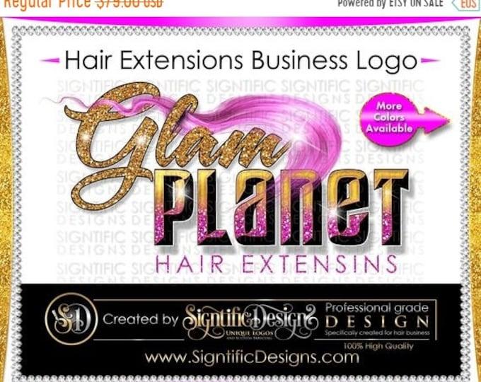 Hair Extensions Logo, 3D Logo, Glam Logo, Shimmer Logo, Hair Bundle Logo, Extension Logo, Hair Wrap Logo, Glitter Logo, Hair Business Logo