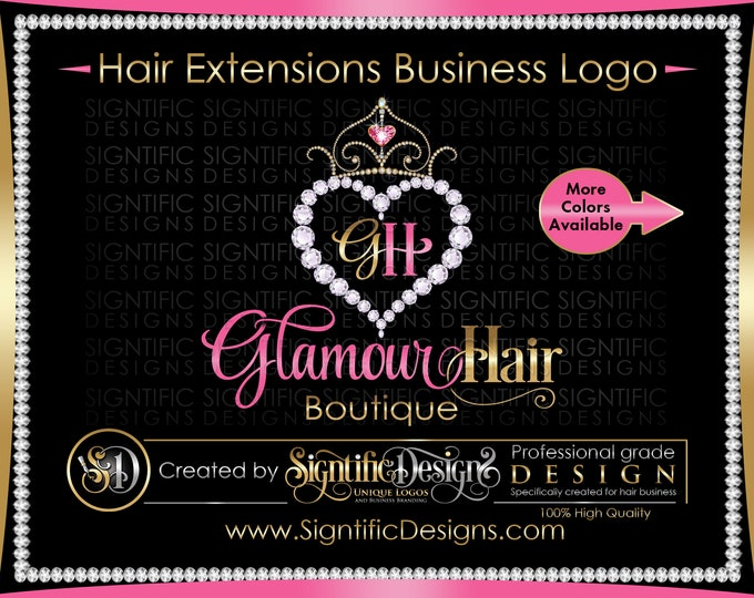 Hair Extension Logo, Hair Logo, Hair Business Logo, Bling Diamond Logo, Bling Tiara Logo, Hair Bundle Logo, Bundle Wrap Logo, Packaging Logo