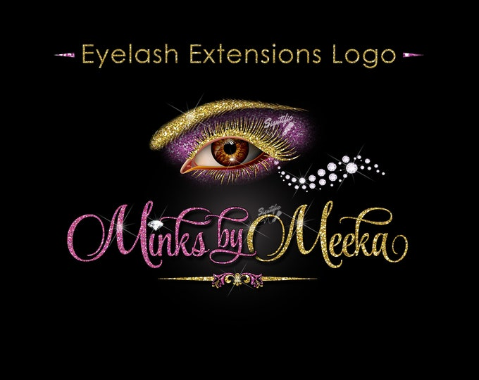 Eyelash Extension Logo, Eyelash Business Logo, Glitter logo, Lash Business Logo, Eyelash Branding, Lash Diamond Logo, Eye Lash Company Logo