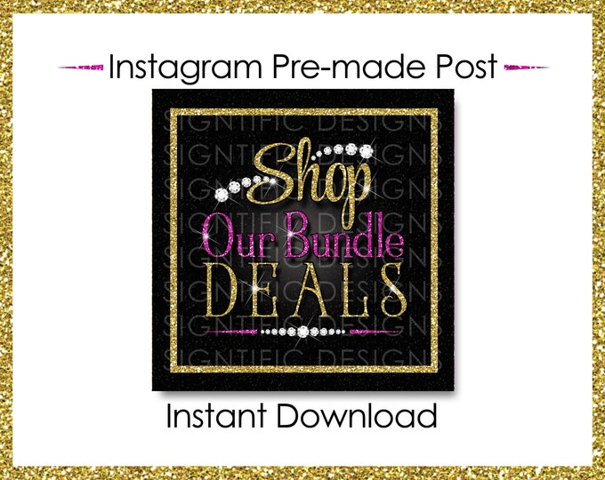 Instant Download, Shop Our Bundle Deals, Glitter Bundle Flyer, Hair Extensions Post, Instagram Post, Glitter Gold Pink, Digital Online Flyer