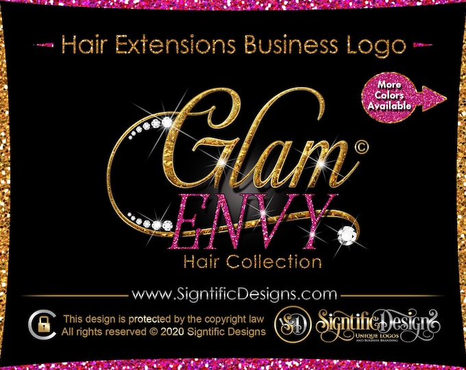 New Hair Logo, Hair Extension Logo, Diamond Logo, Bling Glitter logo, Hair Business Logo, Gold Glitter Logo, Wig Logo, Hair Branding Logo