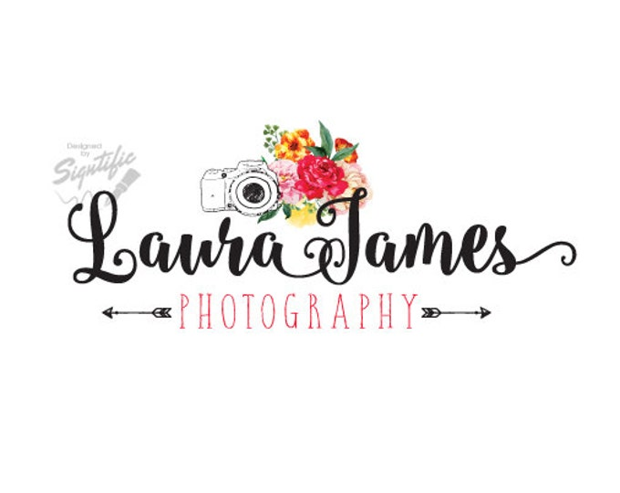 Flowers Photography Logo, Floral Logo with Camera, Photographer Watermark Logo Design, Arrow Logo, Business Logo, Logo for Photographs