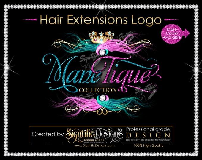 Hair Extensions Logo, Hair Glitter logo, Hair Branding, Bundle Logo, Bling Hair Logo, Flowing Hair Logo, Packaging Logo, Semi Custom Logo