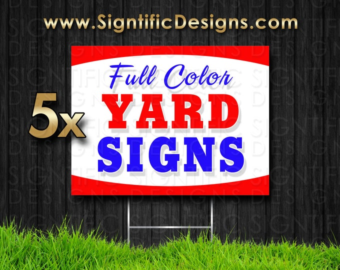 5 Custom Yard Signs, Real Estate Signs, Political Signs, Corrugated Signs, House Sale Sign, Yard Sale Sign, Flea Market Sign, Business Sign