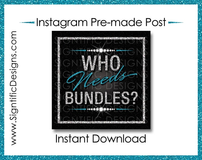 Instant Download, Who Needs Bundles, Hair Extensions Flyer, Glitter Silver Teal, Instagram Post, Digital Flyer Post, Bundle Flyer Post