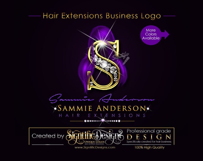 Hair Extensions Logo, Hair Bundle Logo, Bling Glitter Logo, Signature Logo, Hair Logo, Hair Packaging Logo, Hair Brand Logo, Branding Logo