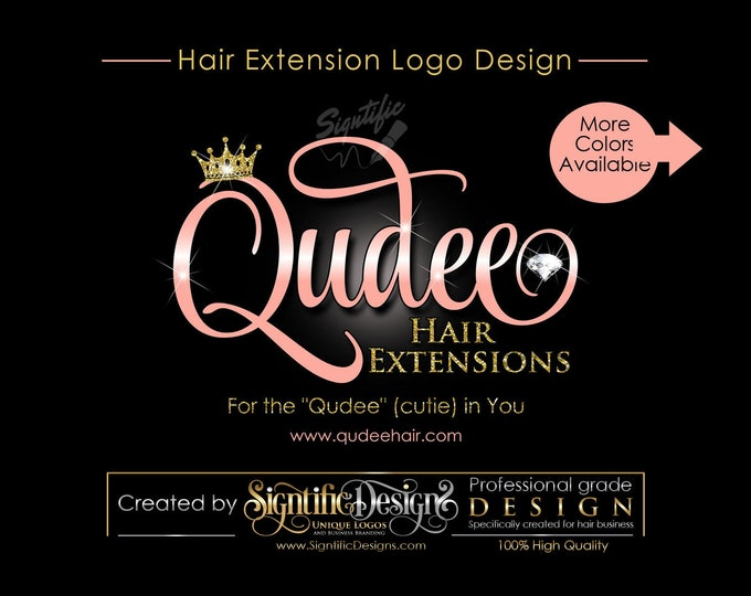 Hair Extensions Logo, Virgin Hair Logo Design, Hair Collection Logo, glitter gold, Rose Gold Logo, Crown and Diamond Bling Logo Design