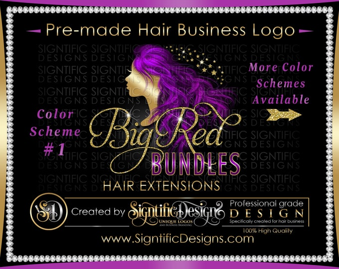 Hair Extensions Logo, Hair Business Logo, Flowing Hair Logo, Virgin Hair Logo, Hair Bundle Logo, Premade Hair Logo, Glitter Bling Logo