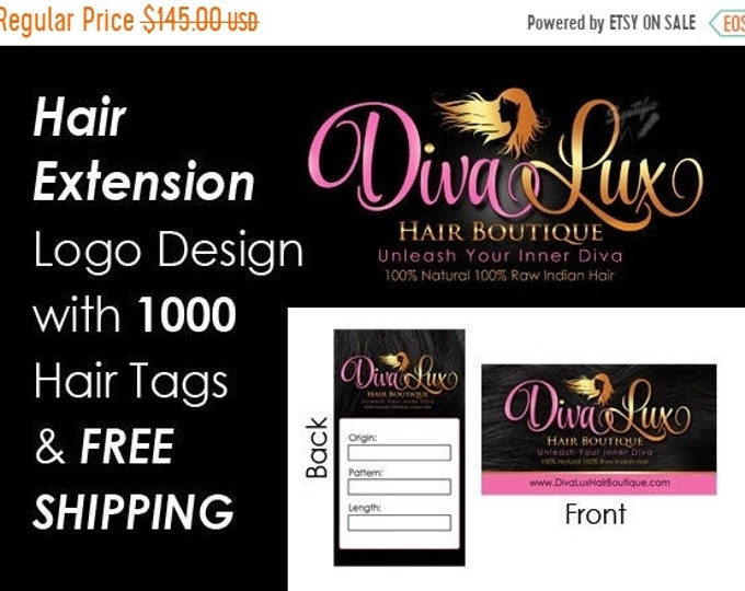 Hair Extensions Business Mini Branding Package, Hair Business Startup Bundle, Logo and 1000 Hair Tags with Free Shipping, Virgin Hair Logo