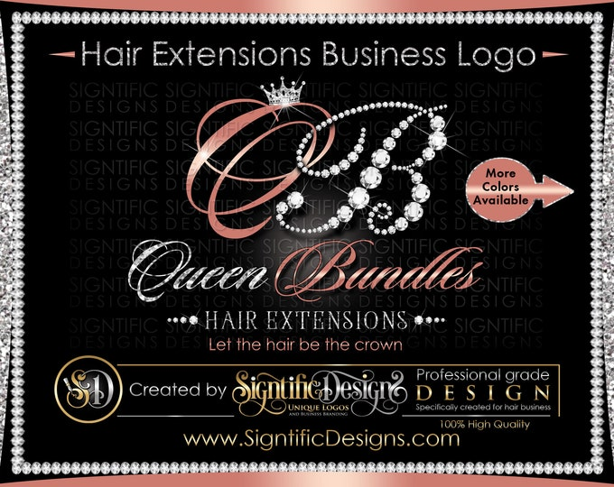 Hair Extensions Logo, Diamond Logo, Hair Business Logo, Hair Glitter Logo, Hair Packaging Logo, Virgin Hair Logo, Hair Brand, Bling Logo