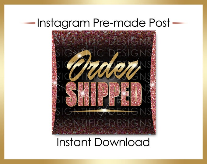 Instant Download, Order Shipped Flyer, Hair Extensions Flyer, Gold Glitter Salmon, Instagram Post, Social Media Flyer, Social Media Post