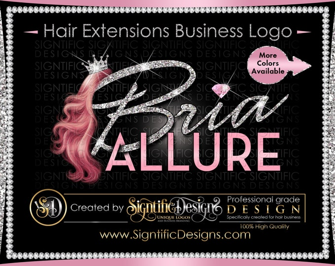 Hair Extensions Logo, Hair Bundle Business Logo, Glitter Hair Logo, Hair Logo, Crown Hair Logo, Hair Tags Logo Design, Wig Business Logo