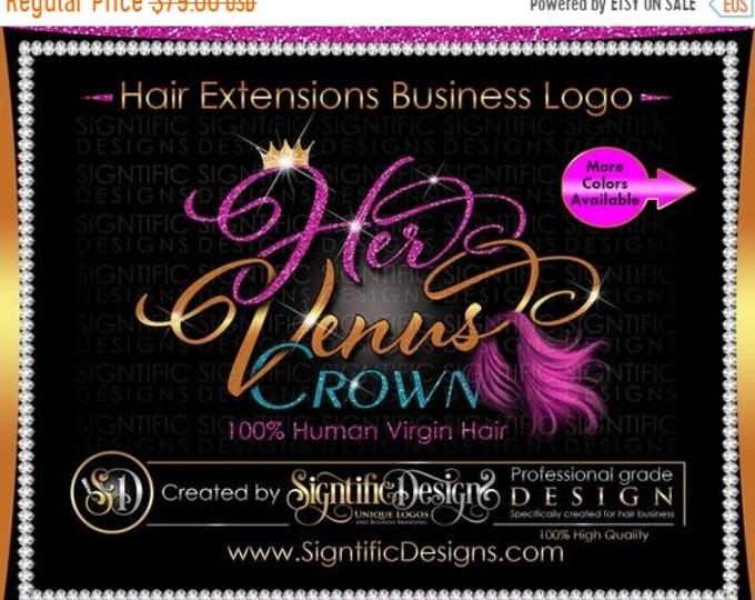 Hair Extension Logo, Hair Business Logo, Wig Logo, Pink Hair Logo, Virgin Hair Logo, Glitter Logo, Hair Branding Logo, Hair Company logo