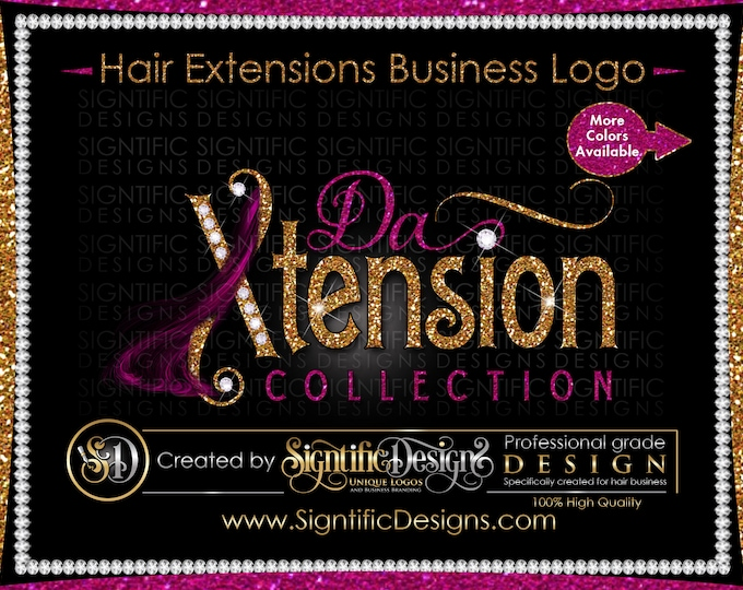 Hair Extensions Logo, Glitter Diamond logo, Bundle Logo, Hair Bling Logo, Wig Logo, Shimmer Logo, Hair Business Logo, Hair Branding Logo