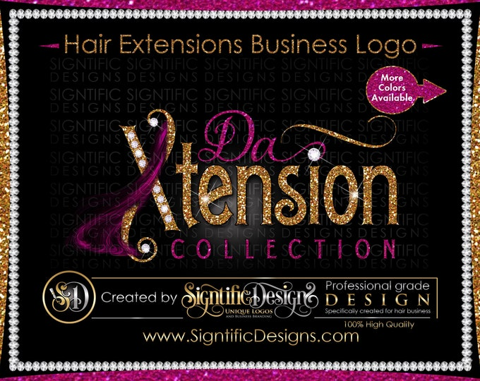 Hair Extensions Logo, Glitter Diamond logo, Bundle Logo, Hair Bling Logo, Wig Logo, Shimmer Logo, Hair Business Logo, Hair Branding Logo