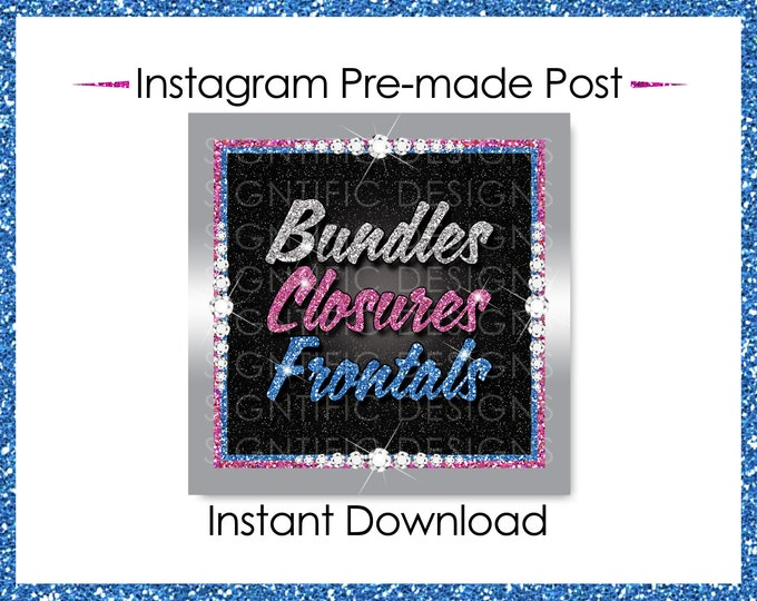 Instant Download, Bundles Closures Frontals, Hair Extensions Flyer, Glitter silver Pink Blue, Digital Hair Flyer, IG Post, Social Media Post