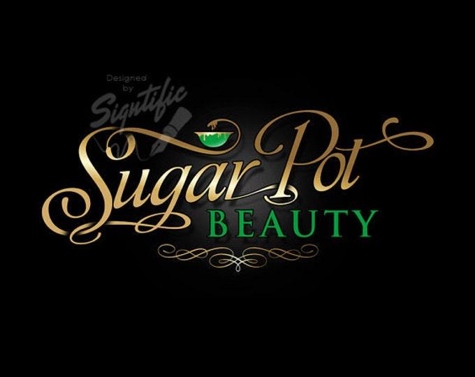Beauty Salon Logo, Custom Business Logo, Gold and Green Logo, Beauty Business Logo, Cursive Lettering Logo Design, Salon Sign Logo Design
