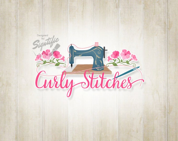 Sewing, Embroidery Logo, Custom Crafty Logo, Logo Design with Sewing Machine and Flowers, Creative Curly Stitches Logo Design Any Color