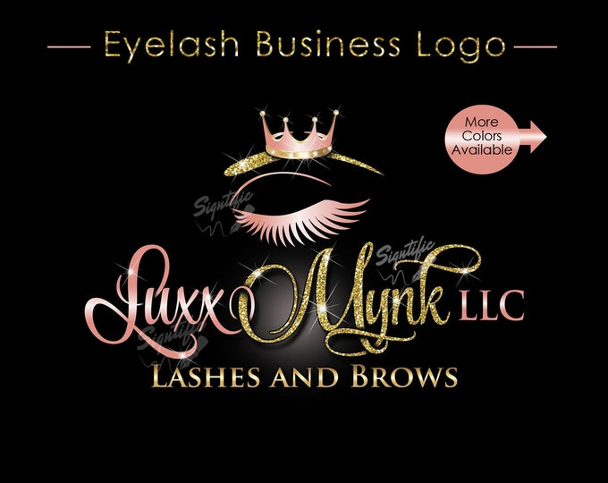 Eyelash Business Logo, Lashes Logo, Glitter Lash Logo, Bling Extension Logo, Eye Lash Logo, Eye and Brow Logo, Shimmer Lash Logo, Eye Logo
