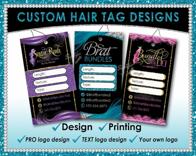 Hair Tag Designs, Premade hang tags, Hair Extension Tags, Hair Business Tags, Hang Tags, Packaging Tags, Bundle Tags, Virgin Hair Tags