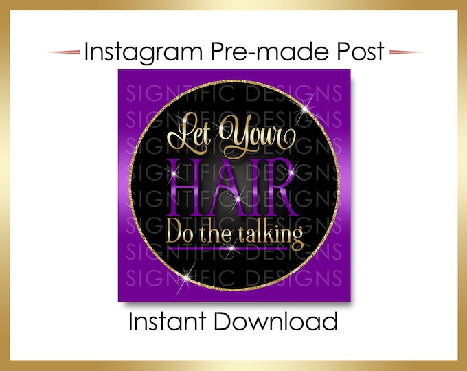 Instant Download, Let your hair do the talking, Hair Business Flyer, Gold Purple Flyer, Instagram Post, Digital Online Flyer, IG flyer Post
