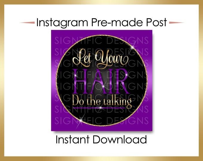 Instant Download, Let your hair do the talking, Hair Business Flyer, Gold Purple Flyer, Instagram Post, Digital Online Flyer, IG flyer Post