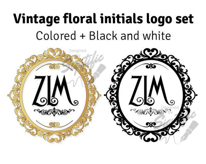 Vintage photography monogram logo set,  floral frame initials plus black and white design, custom photography wreath logo design
