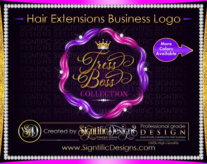 Hair Extension Logo, Hair Bundle Logo, Hair Branding Design, Diamond Bling Logo, Packaging Logo, Multi Color Hair Logo, Glitter Hair Logo