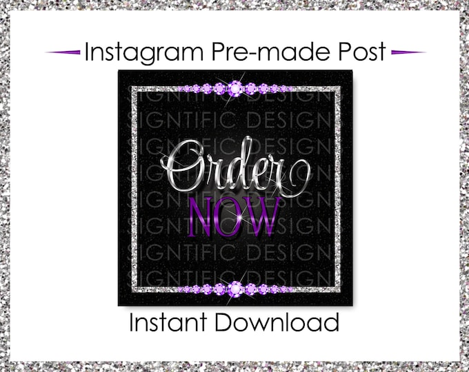Instant Download, Order Now, Hair Extensions Flyer, Instagram Post, Glitter Silver Purple Flyer, Digital Online Flyer, Bundle Glitter Flyer